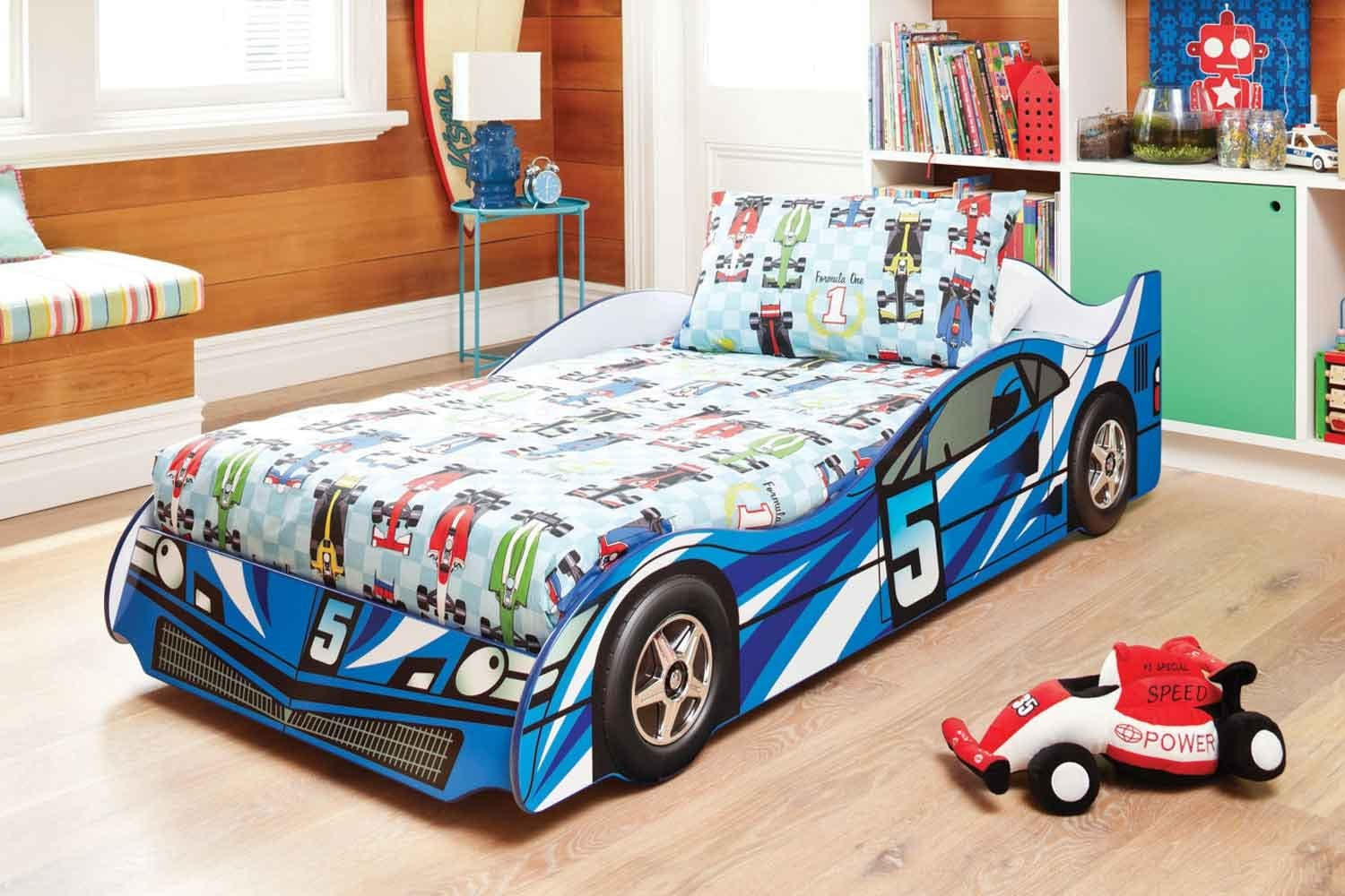 Typical sports car in blue for small kids' room