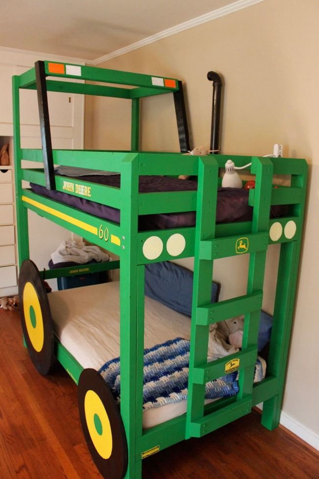 Green bunk bed in the form of tractor