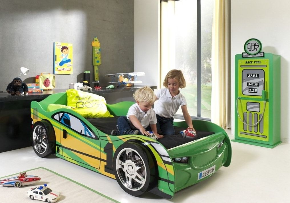 Green sports car with children
