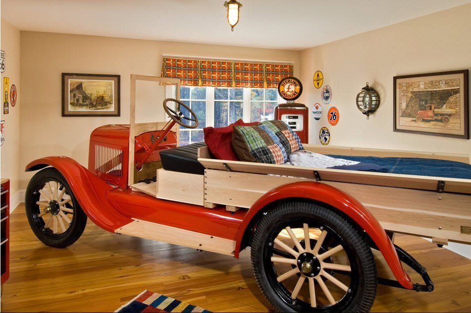 Car Beds for Children's Rooms: Bright Element of Interior Design. Full fledged old truck
