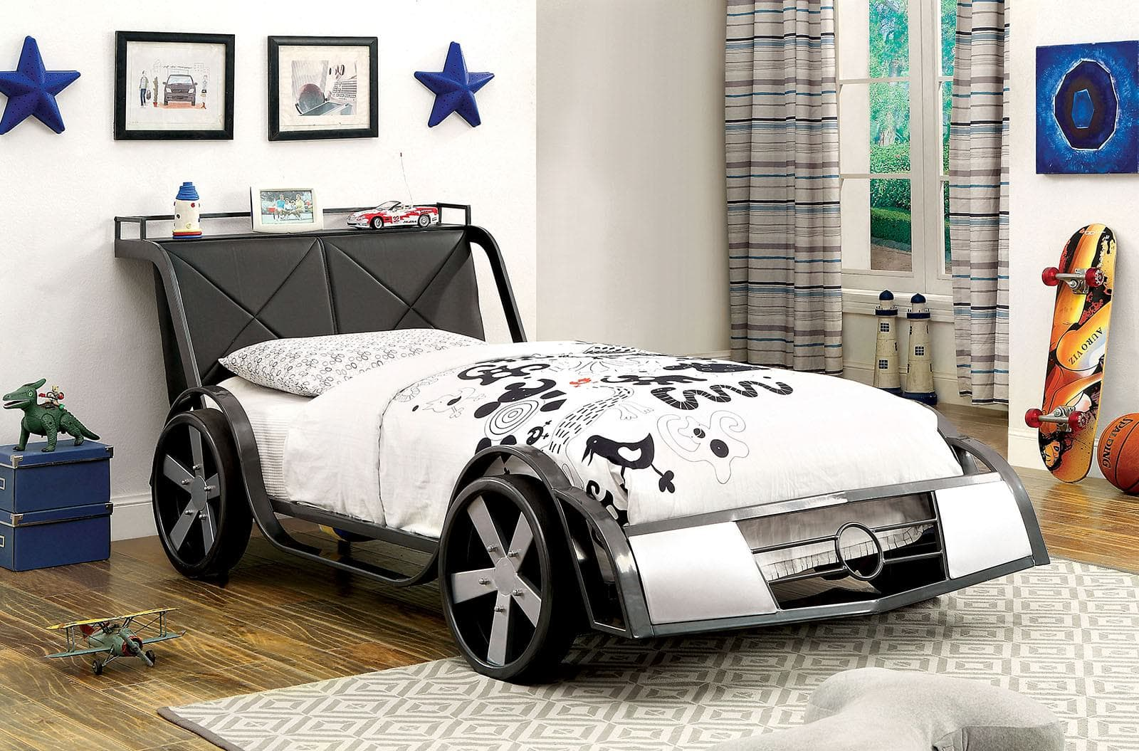 Car Beds for Children's Rooms: Bright Element of Interior Design. Sport car in white and dark colors