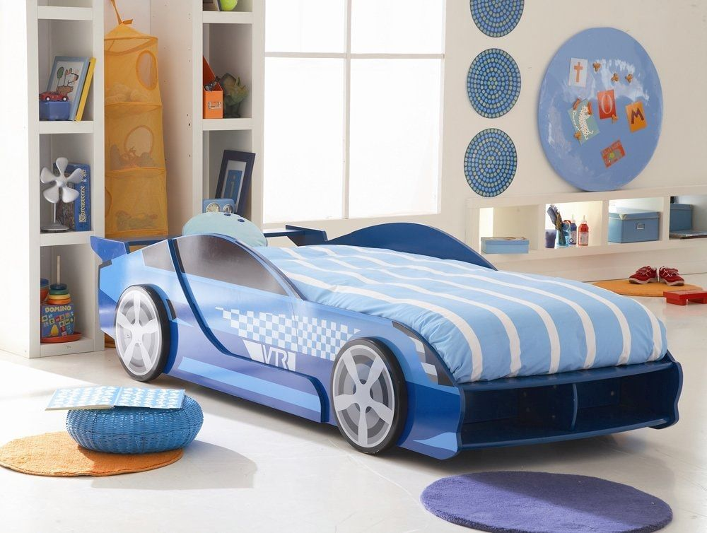 Car Beds for Children's Rooms: Bright Element of Interior Design. Blue with white stripes bedding for sports car