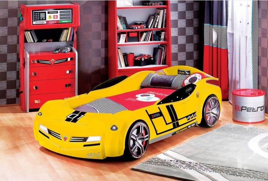 Car Beds for Children's Rooms: Bright Element of Interior Design. Yellow sports car with number and insignia