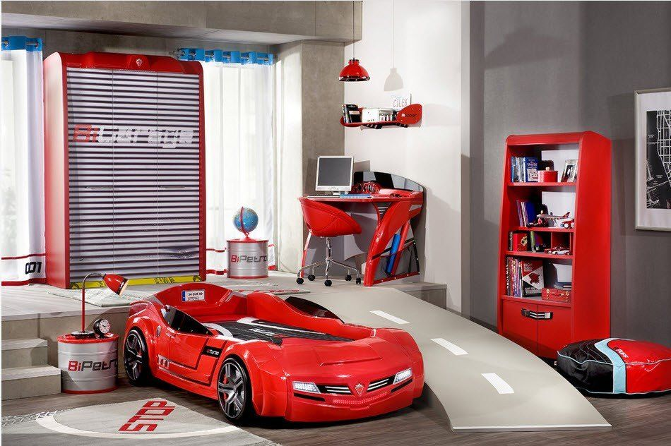 Car Beds for Children's Rooms: Bright Element of Interior Design. Red crib in the form of Ferrari