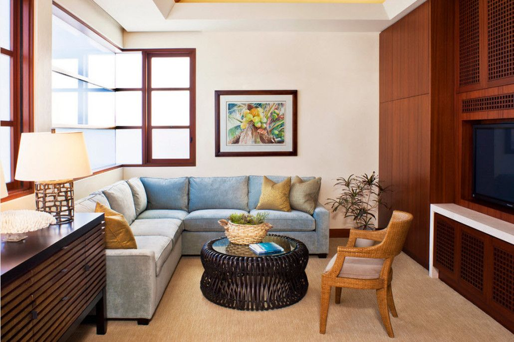 Cozy casual style for the living room with upholstered corner sofa