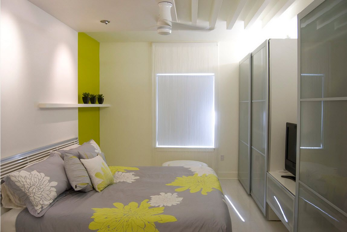 Small Room Interior Design Tips and Ideas. Small but functional bedroom in pastel colors and lime insert