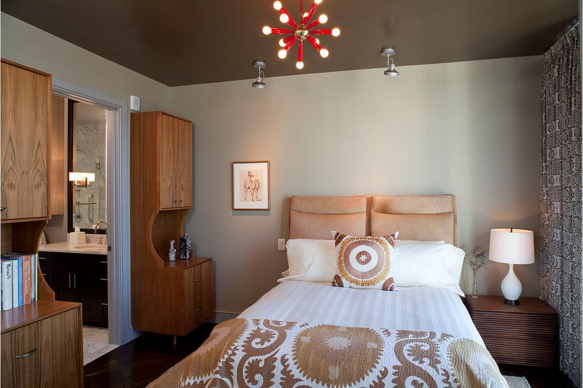 Small Room Interior Design Tips and Ideas. Bedroom with brown ceiling and light walls