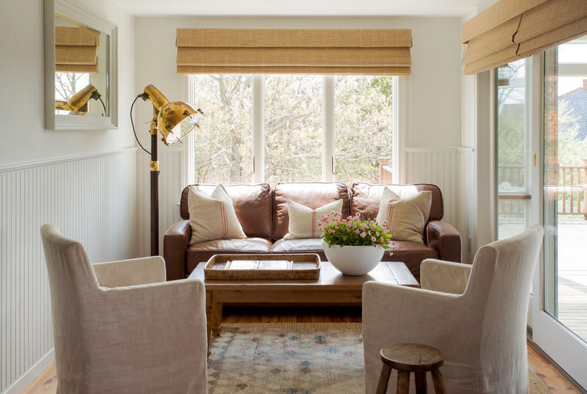 Small Room Interior Design Tips and Ideas. Large window for the living room with roller blinds