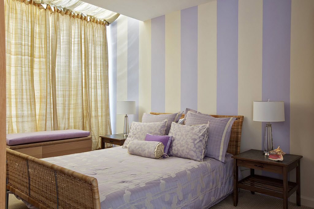 Small Room Interior Design Tips and Ideas. Pale purple large stripes for neat bedroom