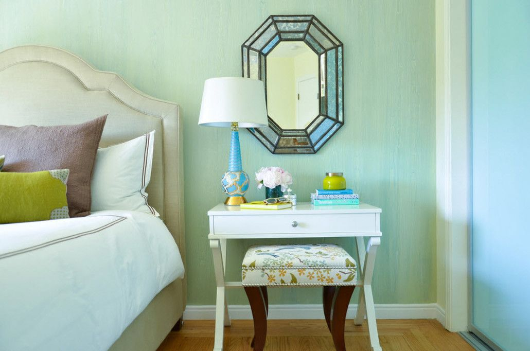 Small Room Interior Design Tips and Ideas. Light green walls for small bedroom with bedside table