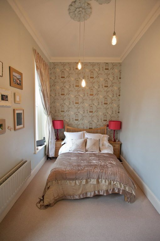 Small Room Interior Design Tips and Ideas. Small narrow room with large bed and pattern on the accent wall
