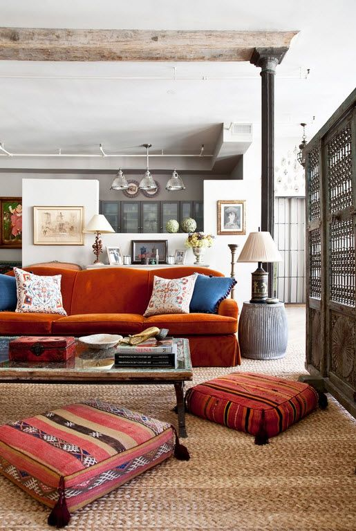 Small Room Interior Design Tips and Ideas. Nice tight living room with red furniture and pillows