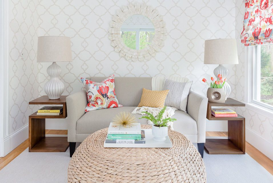 Royal classic pattern on the walls of small living room with decorative mirror