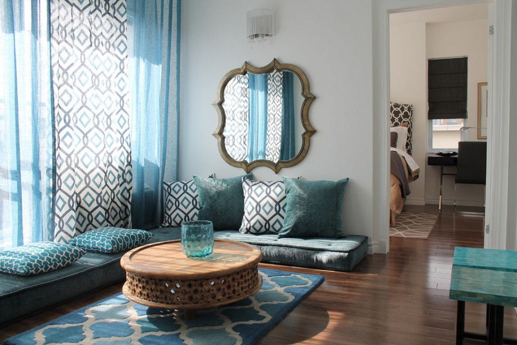 Classic mirror for the living room in blue tones