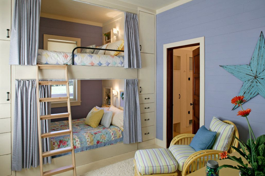 Blue wall and a bunk bed for children's room