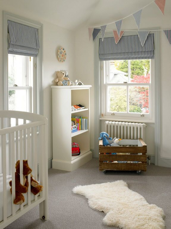 Children's room with the crib and open cabinet in white matte paint