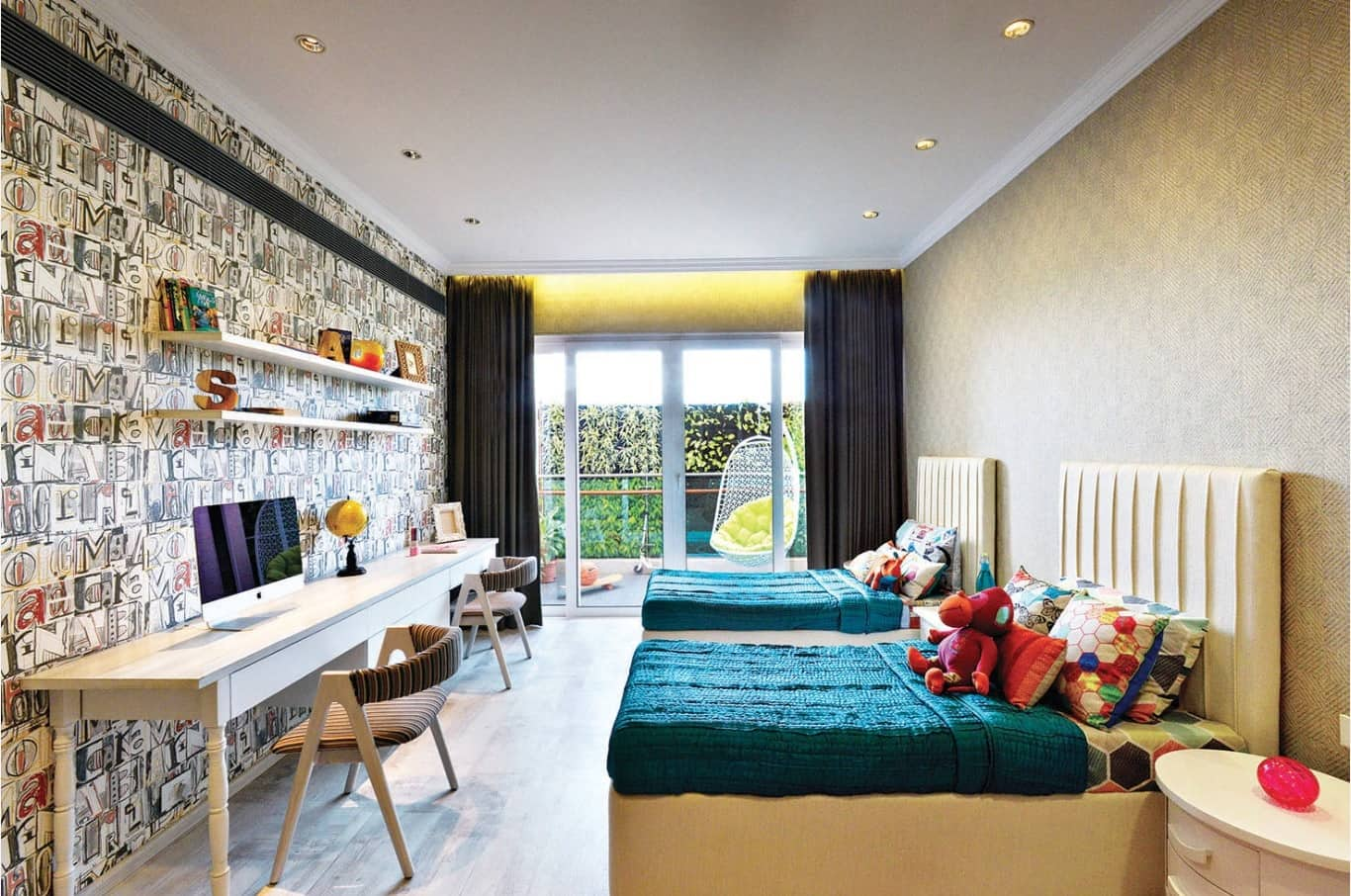 Study Room Design and Finishing Trends with Photos. Casual styled children's room for two with workplaces at the large desk