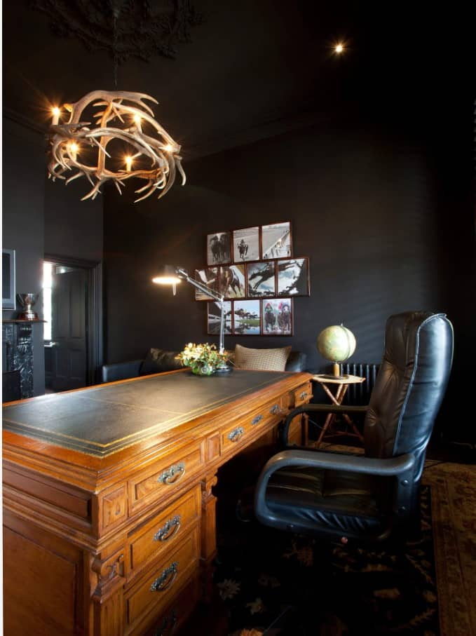 Study Room Design and Finishing Trends with Photos. Black room decoration in Vintage style