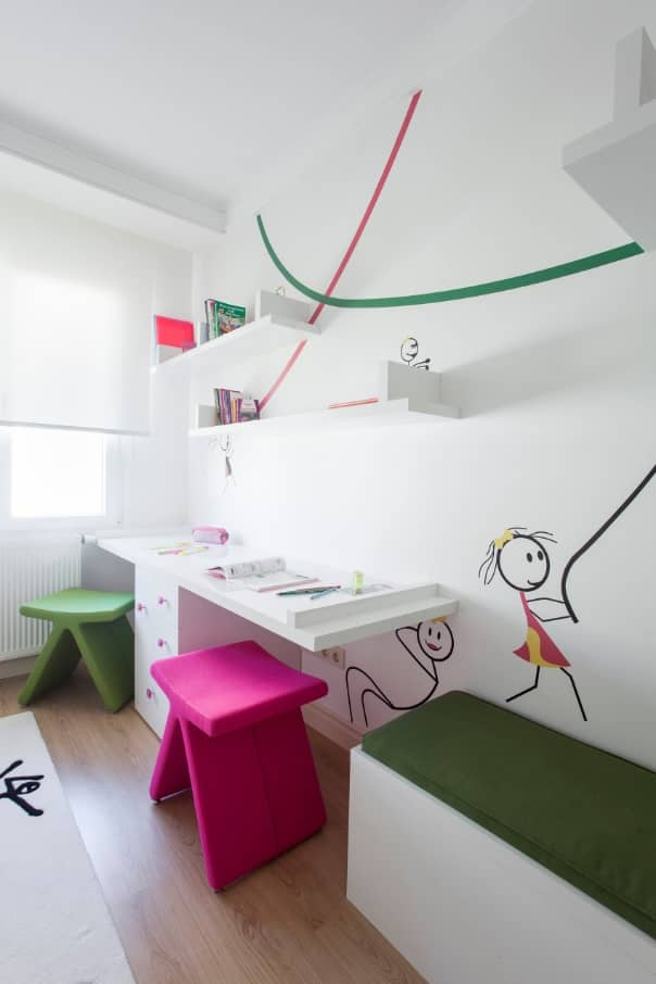 Study Room Design and Finishing Trends with Photos. White walls and colorful paintings for light children's room with colorful chairs