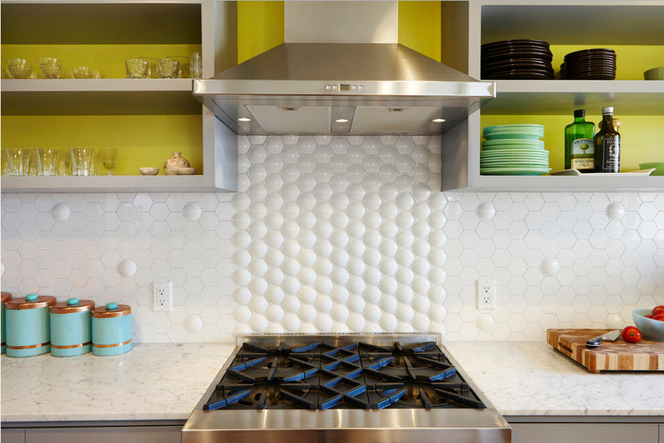 Splashback Interior Design Ideas: Complement your Kitchen. Round cells of textured decoration for the stove area