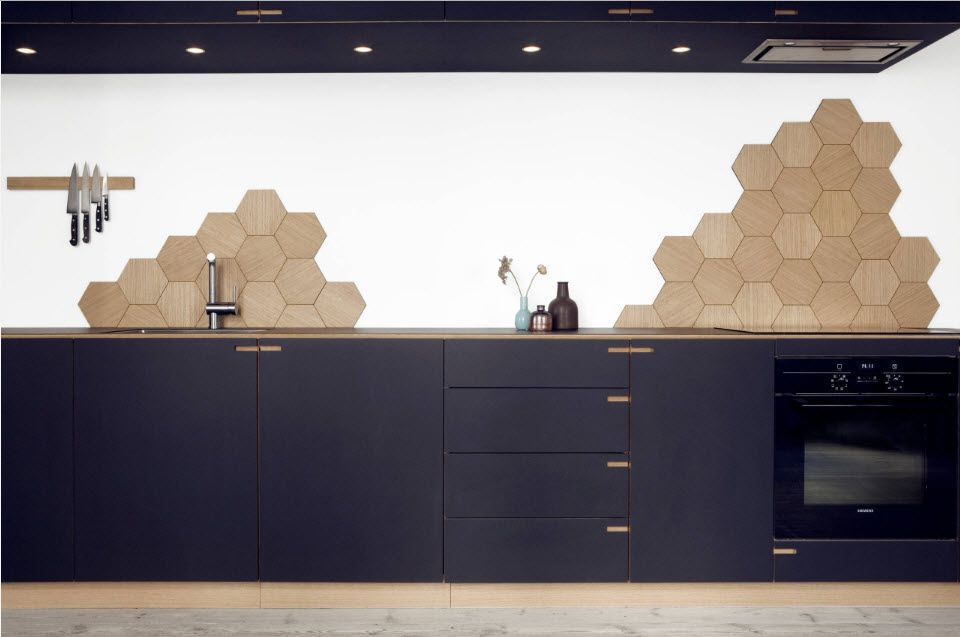 BacksplashInterior Design Ideas: Complement your Kitchen. Totally blue designed kitchen with honeycomb tile