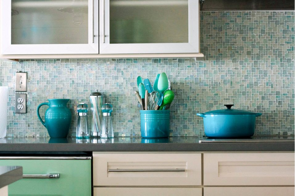 Shallow blue and white mosaic for the splashback of the Contemporary kitchen