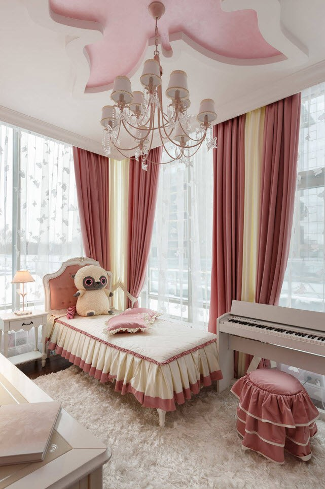 Bedroom Curtains: Full Guide on How to Decorate the Windows. Classic styled interior with red curtains and feminine decoration of the bed