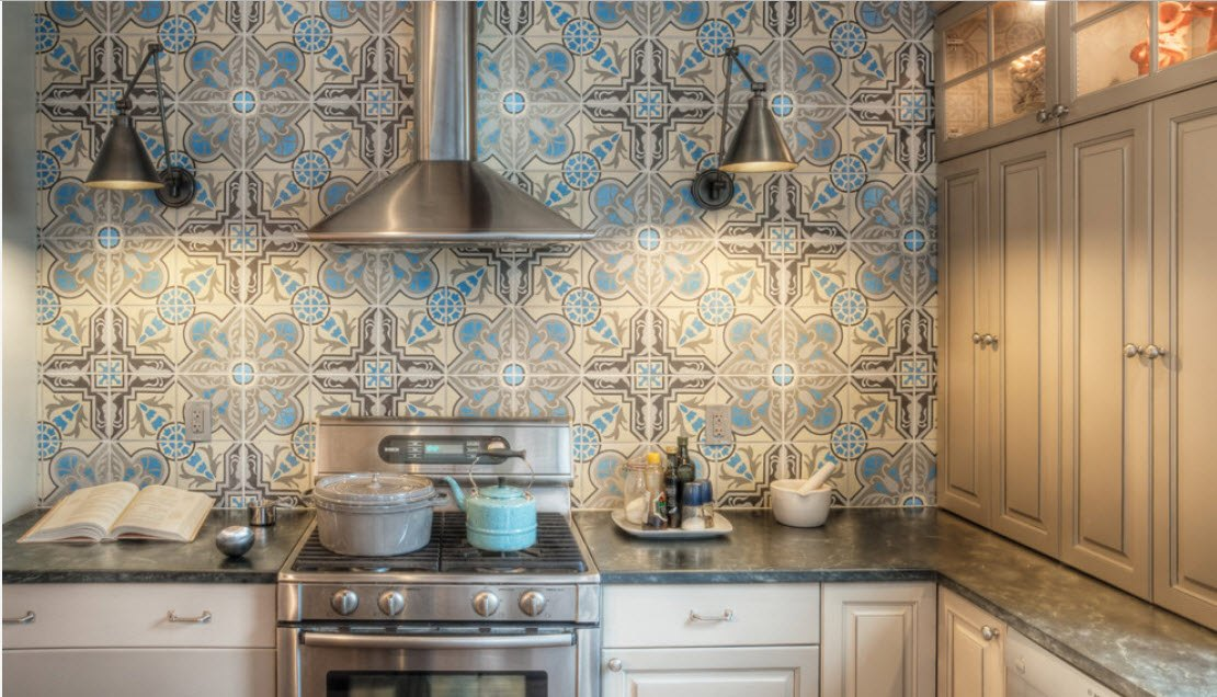 Moroccan tiled wall of the small casual kitchen