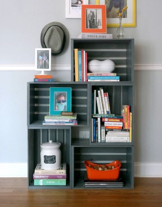 Wooden Boxes for Storage as Effective DIY Furniture Ideas. Gray colored set of boxes as the room rack