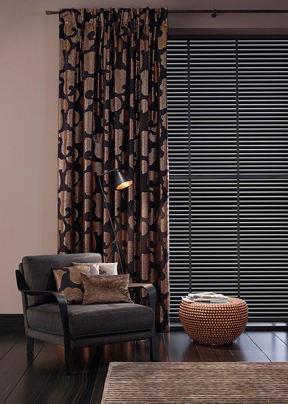 Dark brown bedroom curtains in mix with black jalousie