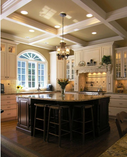 Black kitchen island for Classic interior with coffered ceiling and casement arched window