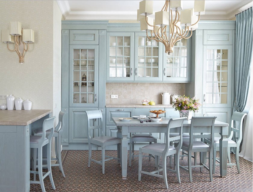 Blue classic interior with dining group and kitchen set
