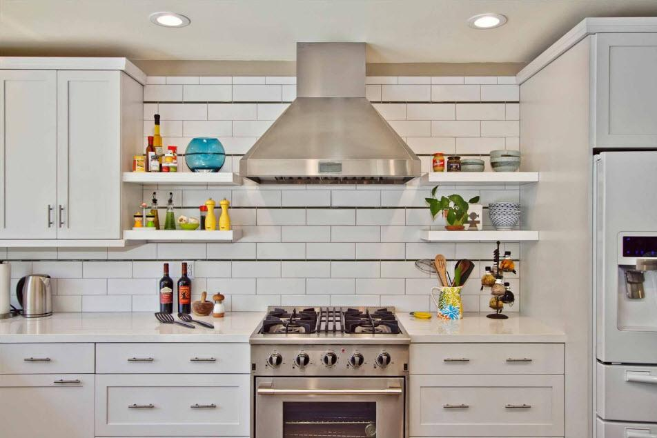 Metro tile for Casual kitchen with open pantry and monolithic furniture set