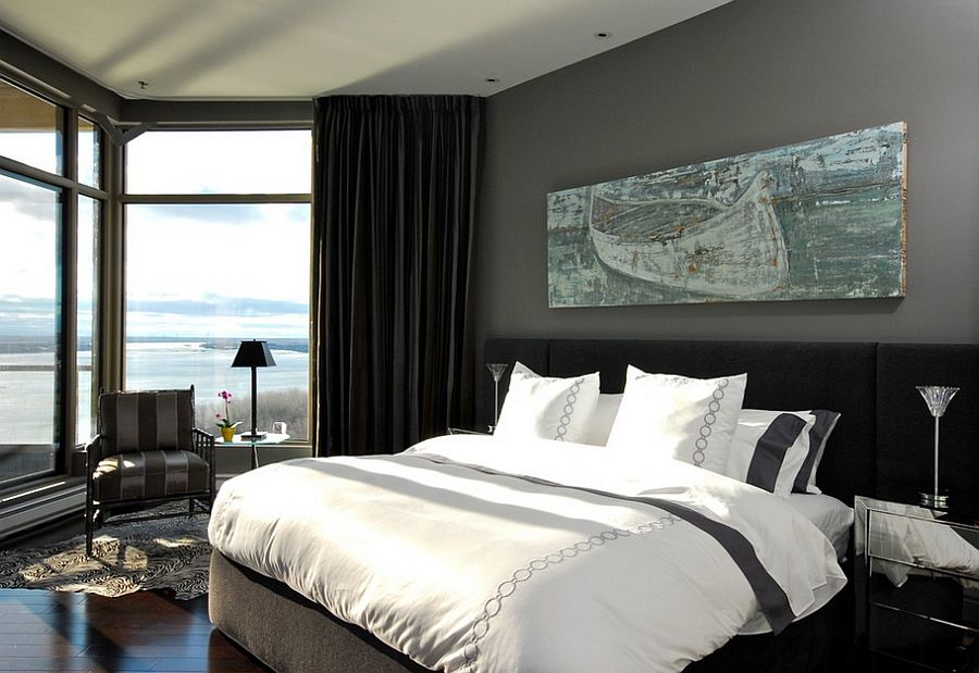 Dark gray colored modern room and black curtains