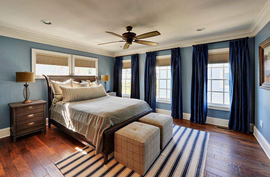 Bedroom Curtains: Full Guide on How to Decorate the Windows. Striped rug and blue walls along with dark blue curtains for Marine styled space