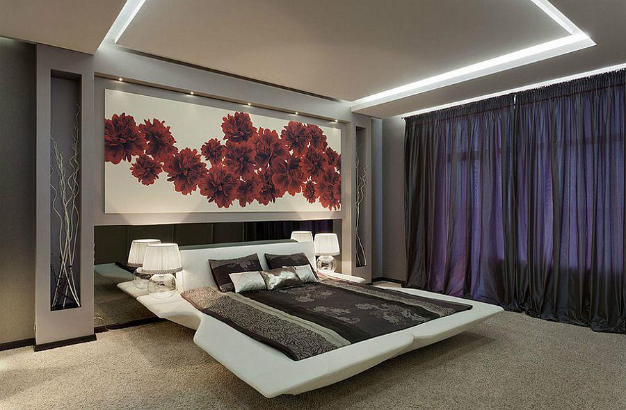 Large platform bed purple curtains