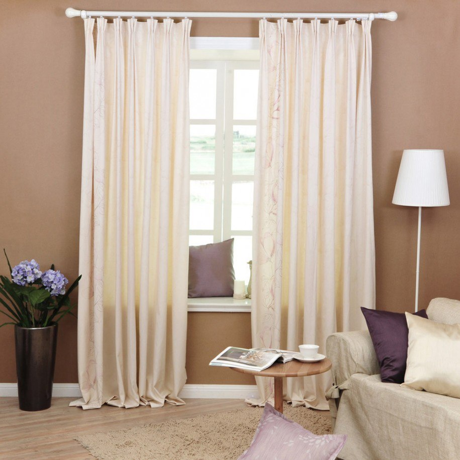 Beige walls and yellow curtains