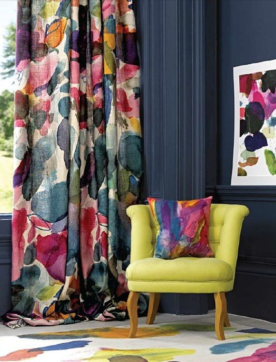 Bedroom Curtains: Full Guide on How to Decorate the Windows. Yellow armchair in the Fusion designed interior
