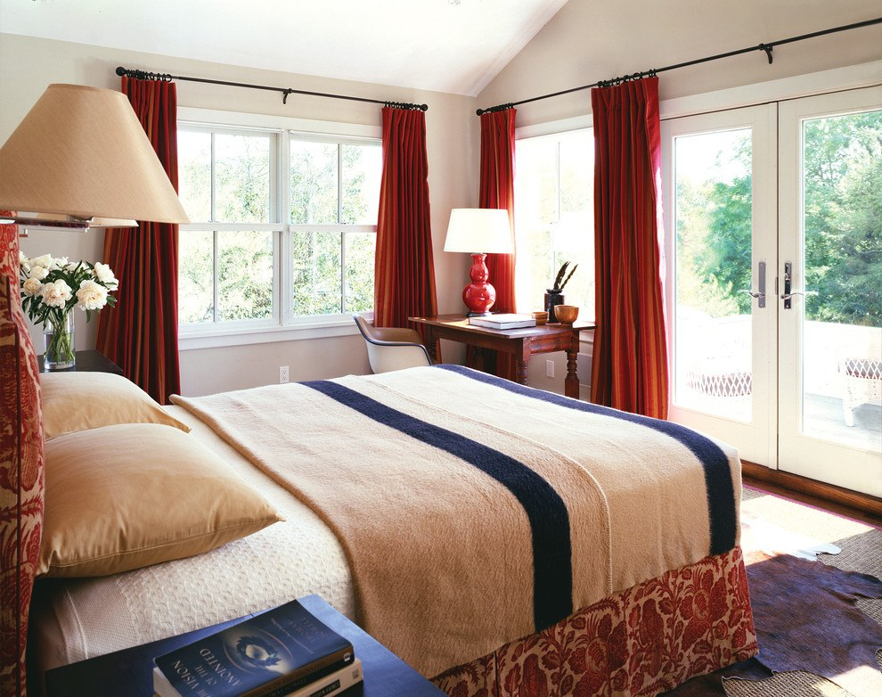 Red bedroom curtains with beige