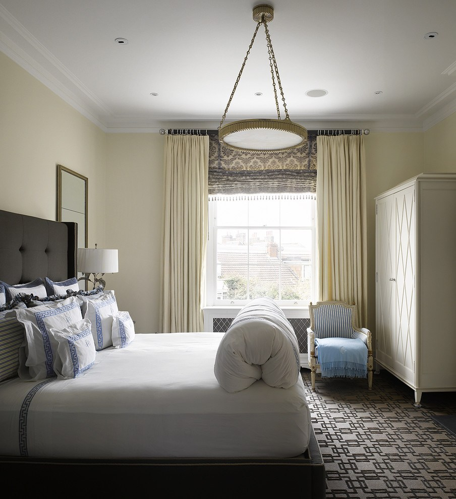 Modern designed bedroom with creamy curtains