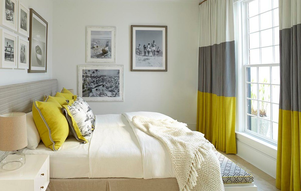 Three colored design of the curtains in casual designed bedroom in white