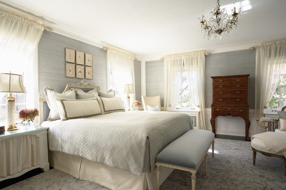 Bedroom Curtains: Full Guide on How to Decorate the Windows. Neat light gray casual interior