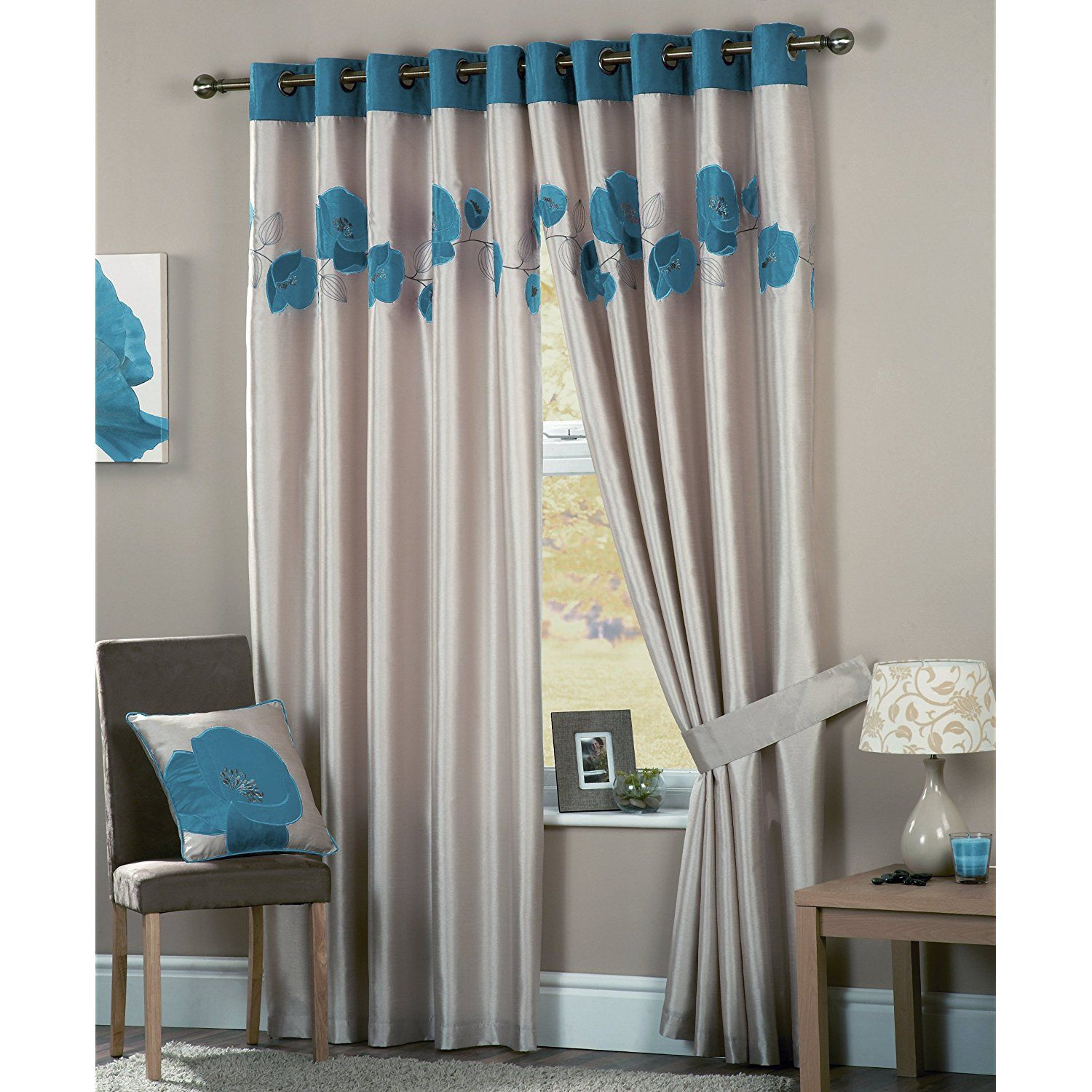 Dotted blue white curtains for modern interior