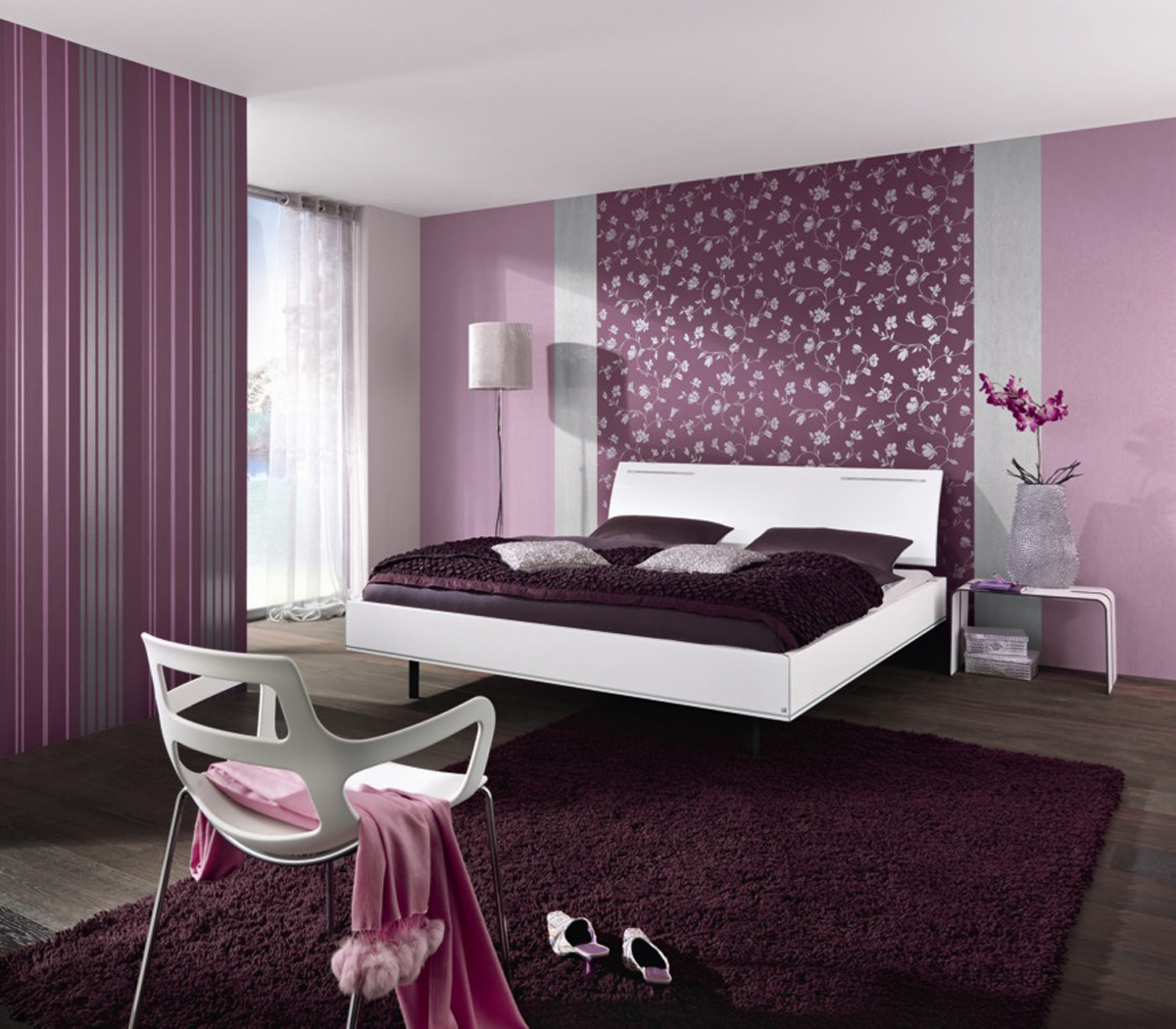 Purple designed bedroom with curtains