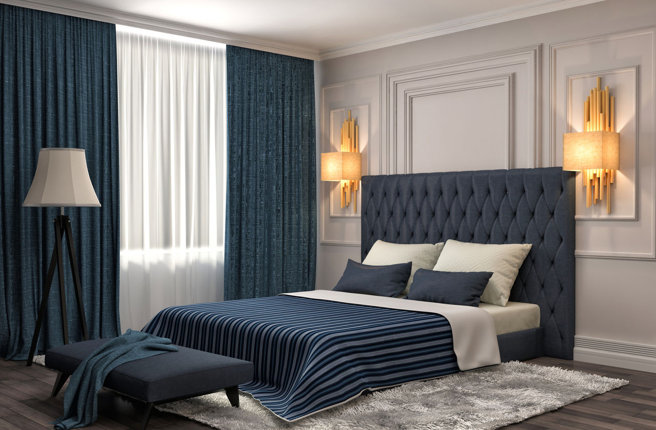 Bedroom Curtains: Full Guide on How to Decorate the Windows. Dark blue quilted headboard wainscotting on the walls