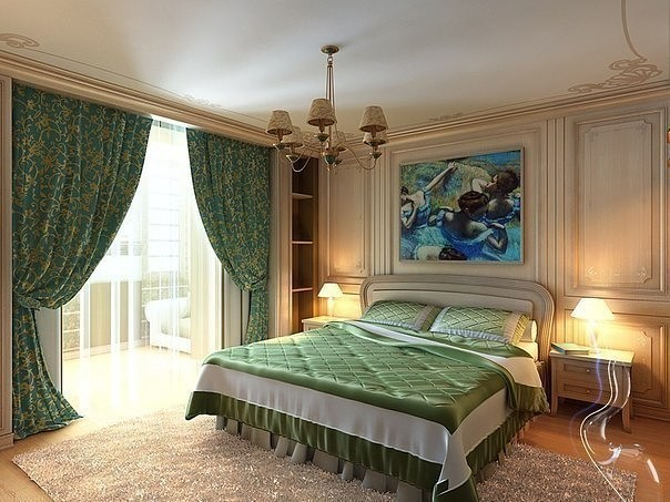 Emerald colored curtains and bed linen for Classic bedroom