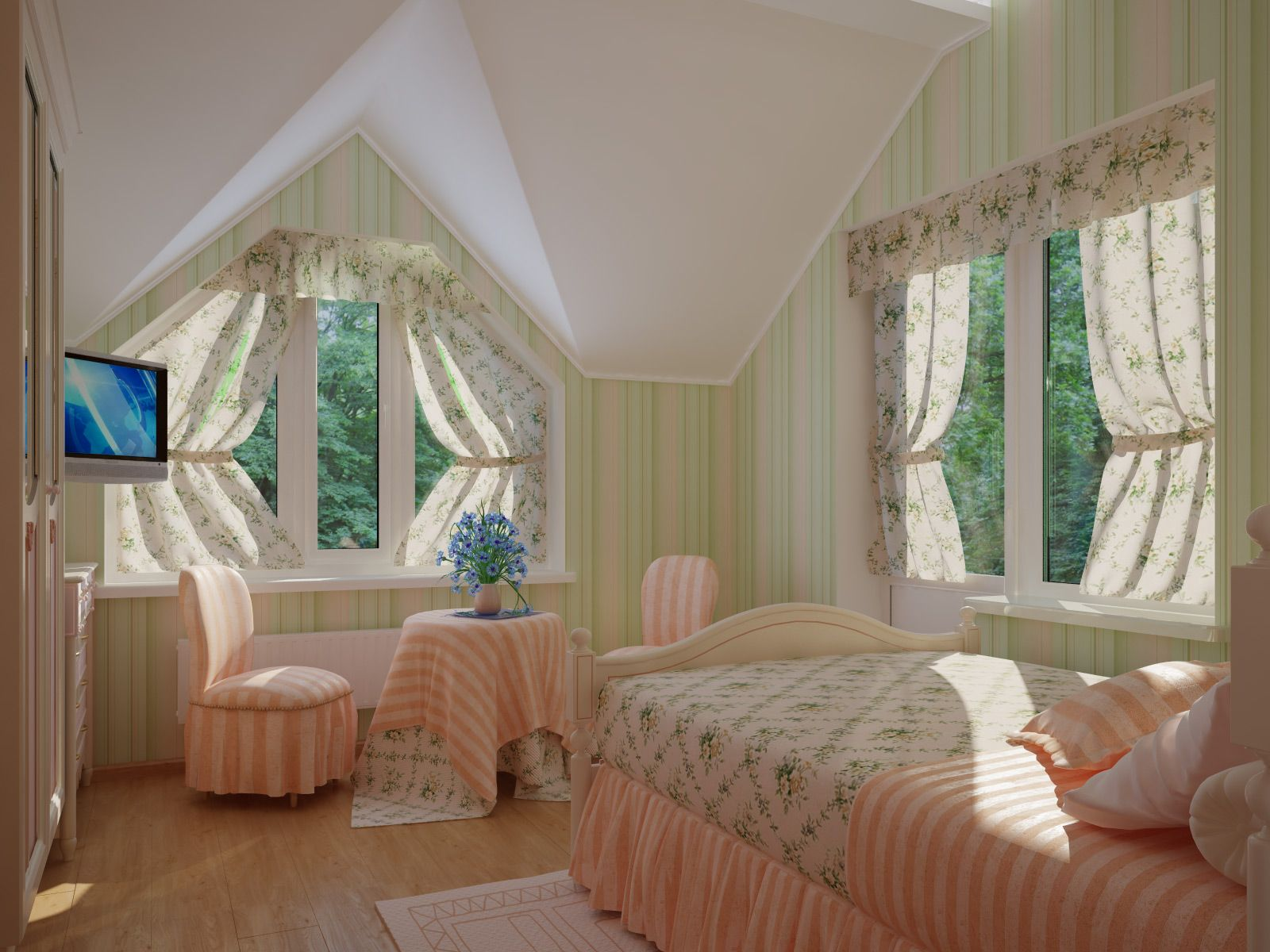 Bedroom Curtains: Full Guide on How to Decorate the Windows. Loft architecture of the top floor bedroom with nice tied up curtains