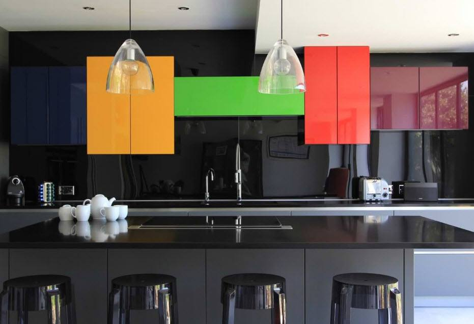 Totally black kitchen with colorful top cabinet facades