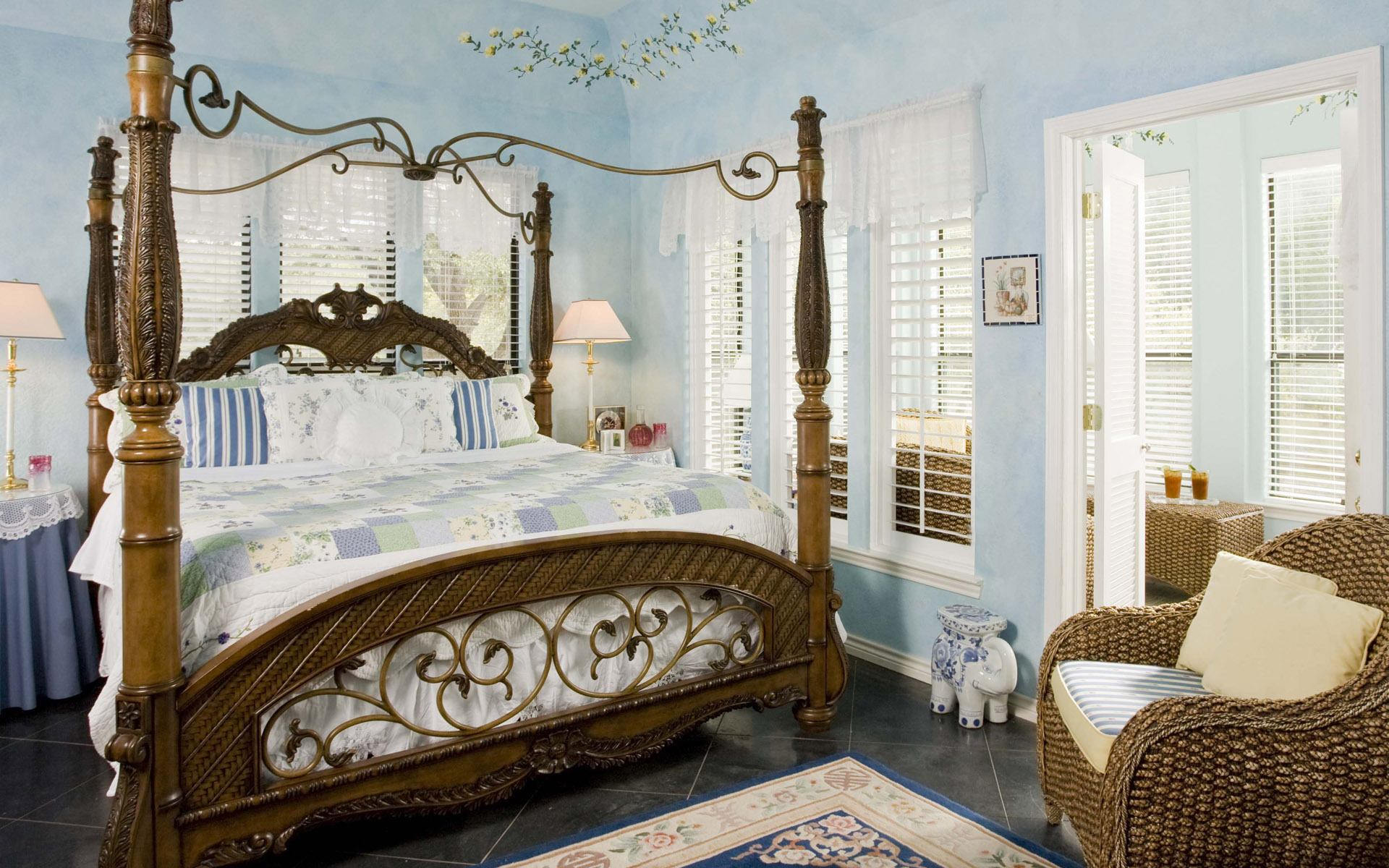 Large king-size canopy bed in Classic bedroom