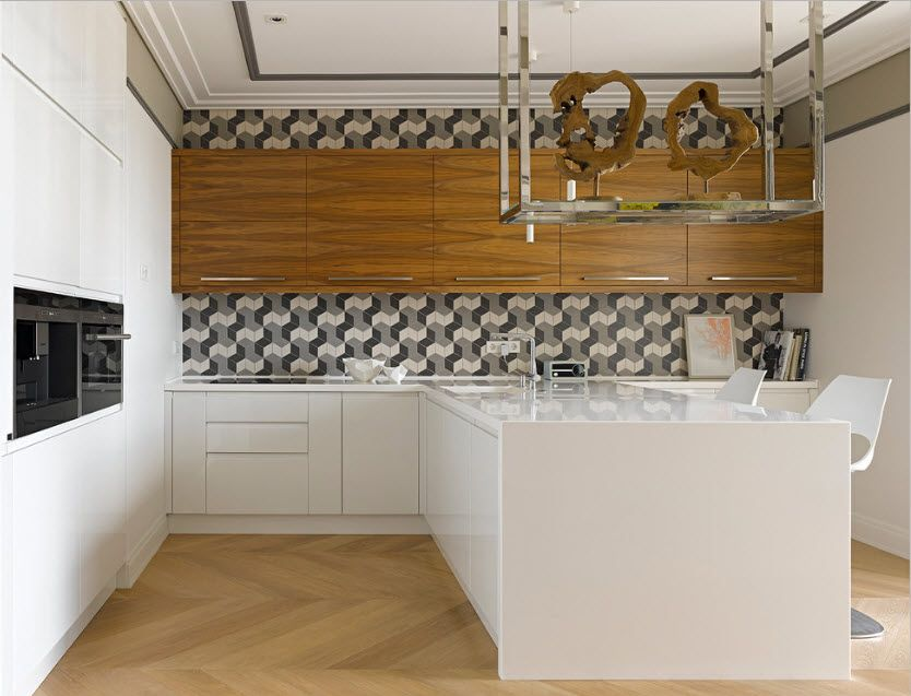 Wooden framing and 3D tile pattern for the kitchen with glossy topped island